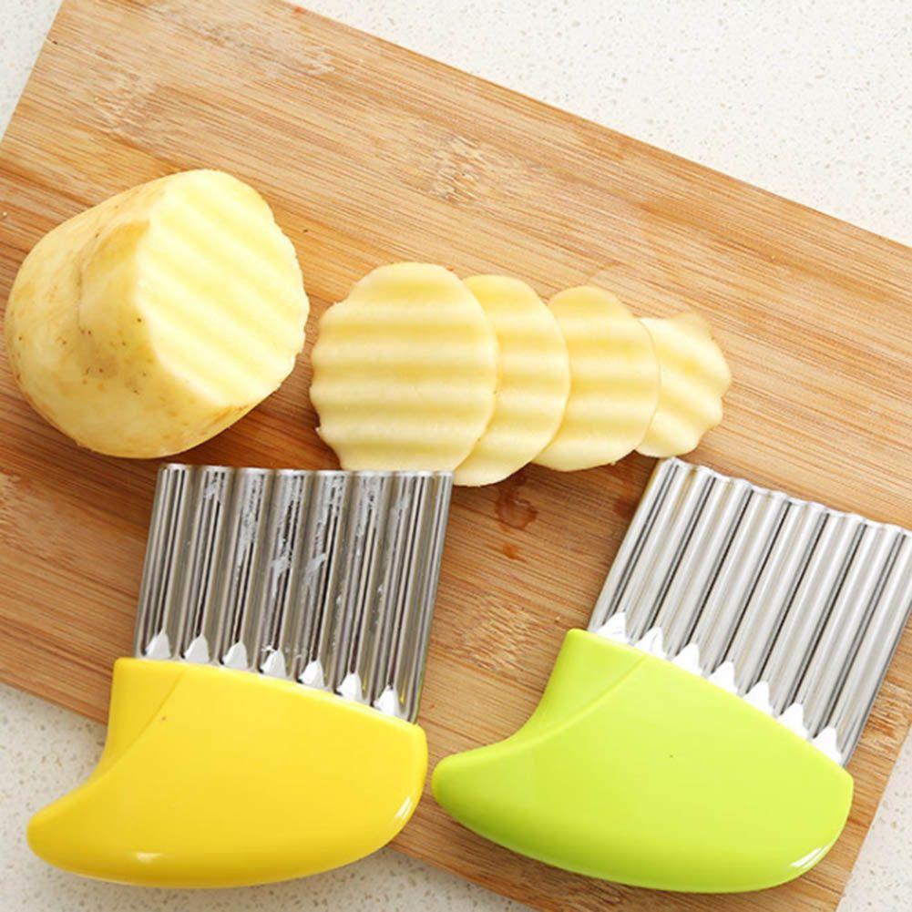 Stainless Steel Vegetables Wavy Cutter Slicer Potato Carrot Slicer Wrinkled French Fries Making Knife Kitchen Accessory