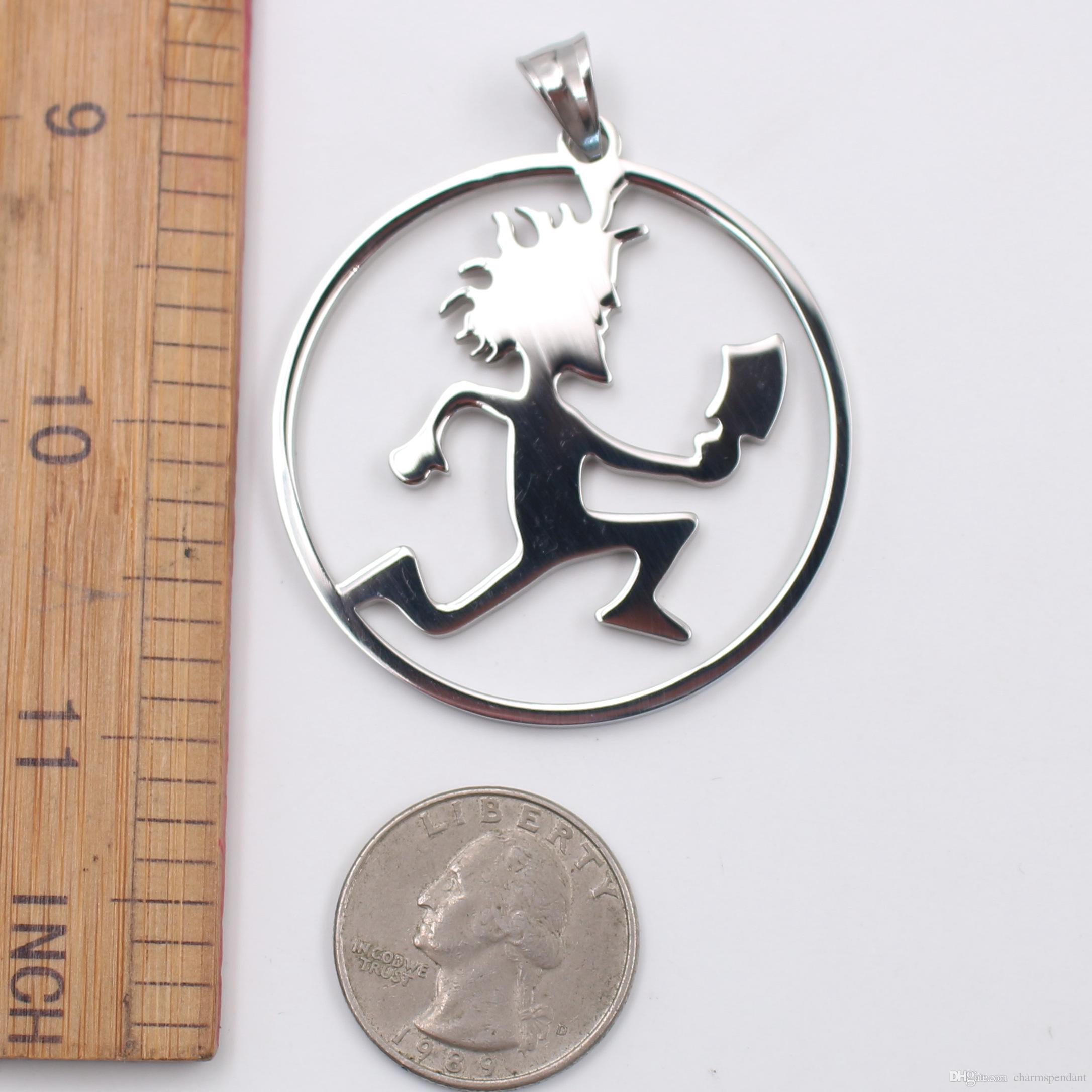black/ silver High Polished Fashion Stainless Steel roker ICP Round Hatchet Man Pendant Men Women Necklace Chain