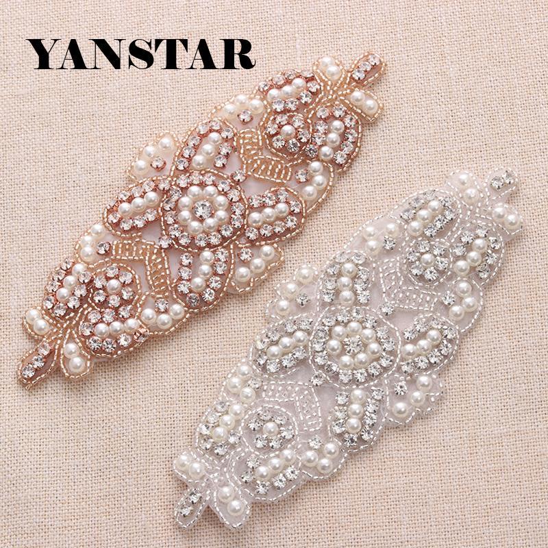 Yanstar Bridal Gown Belts Rhinestone Appliques Sew On Bridal Sash ...