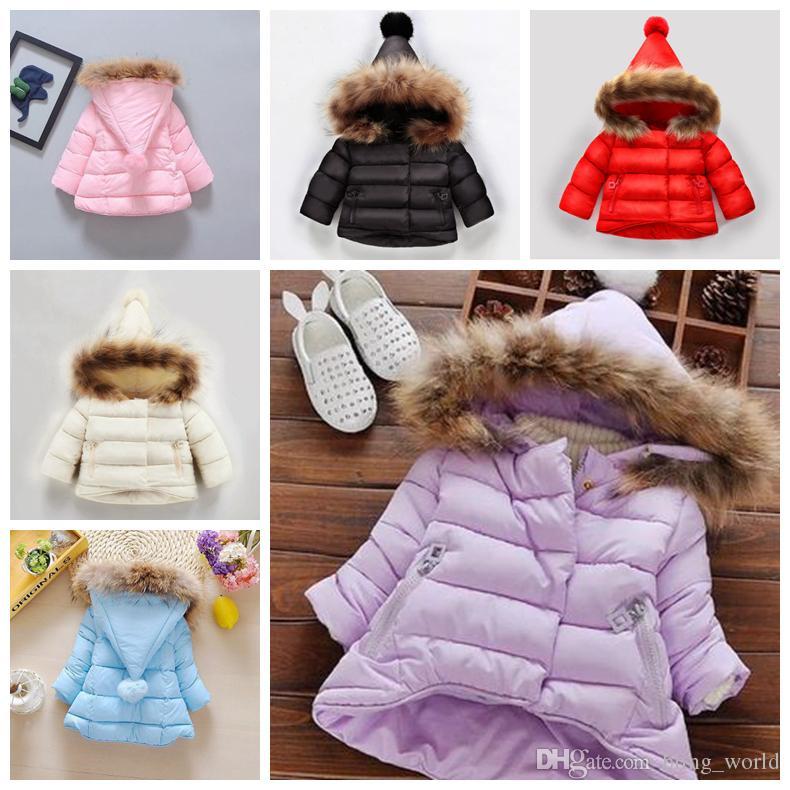 4229d3f1e03e INS Baby Coats Solid Color Hooded Coat Winter Warm Collars Coat ...