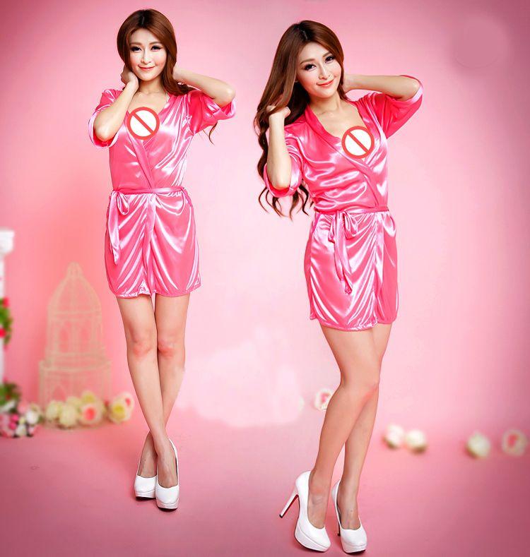 Sexy Women's Japanese Silk Kimono Robe Pajamas Nightdress Sleepwear Pure Color Kimono And G-Strings Underwear Sets