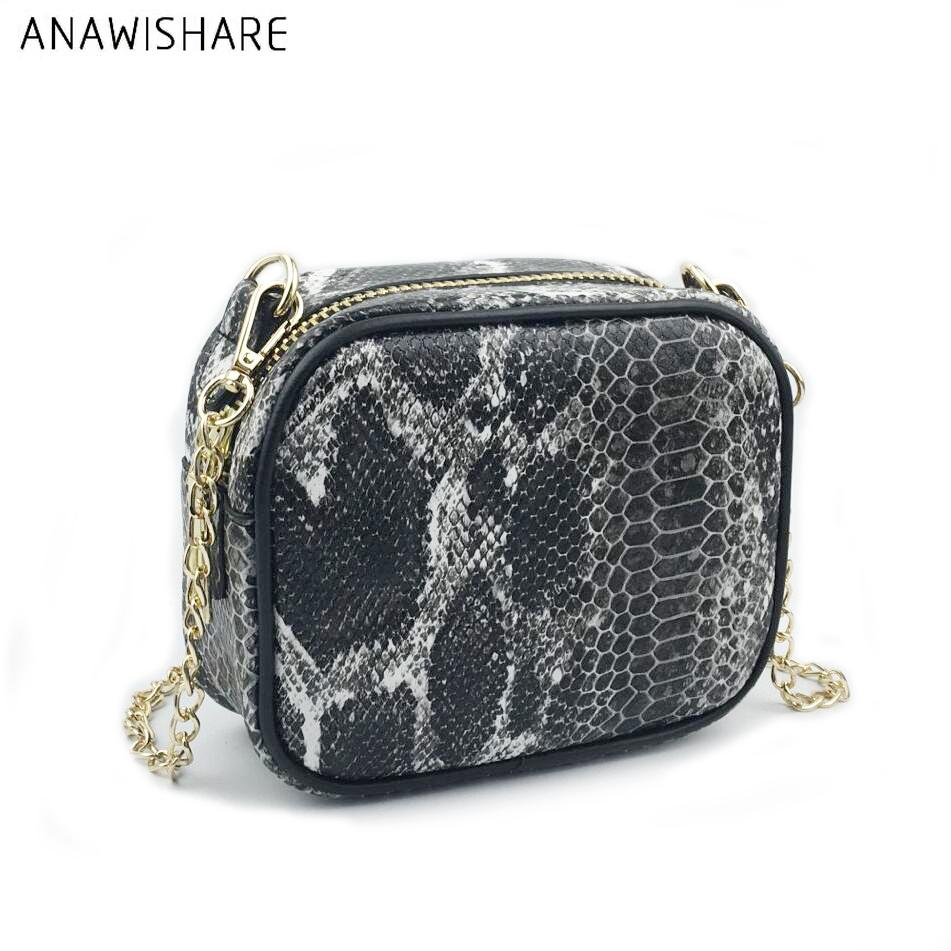 ... ANAWISHARE Women Messenger Bag Snake Skin Pu Leather Chain Crossbody  Bags For Girl Summer Style Female ... 60e52accf0