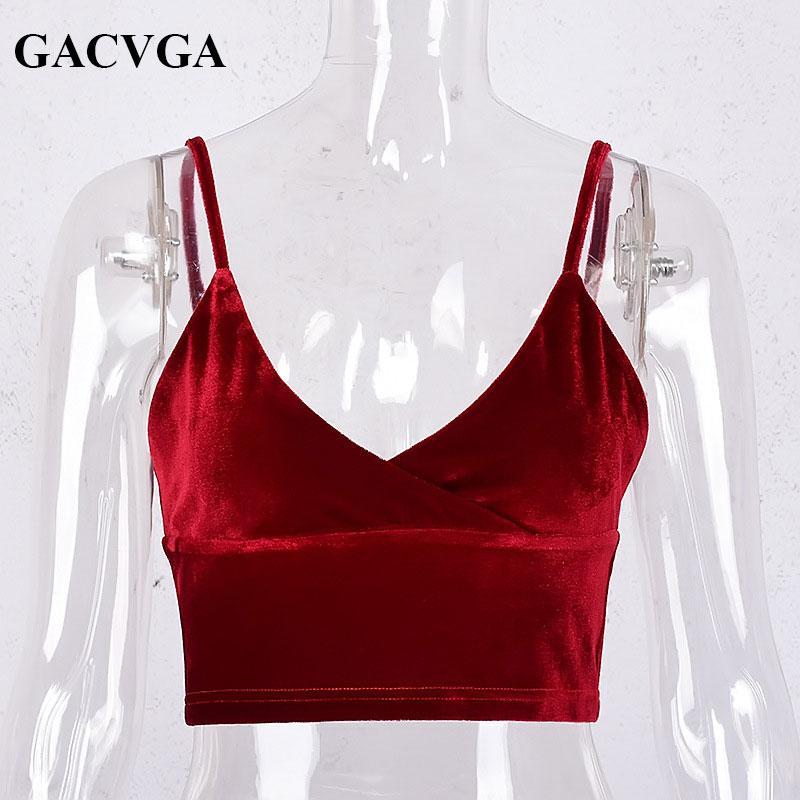 GACVGA marca Sexy veludo v neck regata camisole sem encosto cinta colheita top Vintage bra top do tubo mulheres Borgonha tops blusa