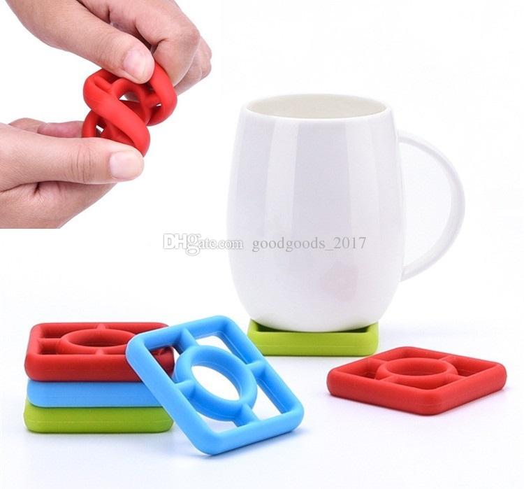 Compre Silicone Coaster Mats Set Mesa Taza Olla Mat Almohadillas En ...