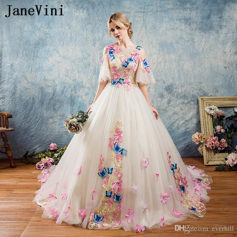 Fantastic Long Prom Dresses 2018 Butterfly Decoration 3D Flowers Bow Knot  Formal WearTulle Ball Gowns Girls Gala Holiday Party Dress Prom Dresses  Essex Prom ... 5a09a6ebe44a