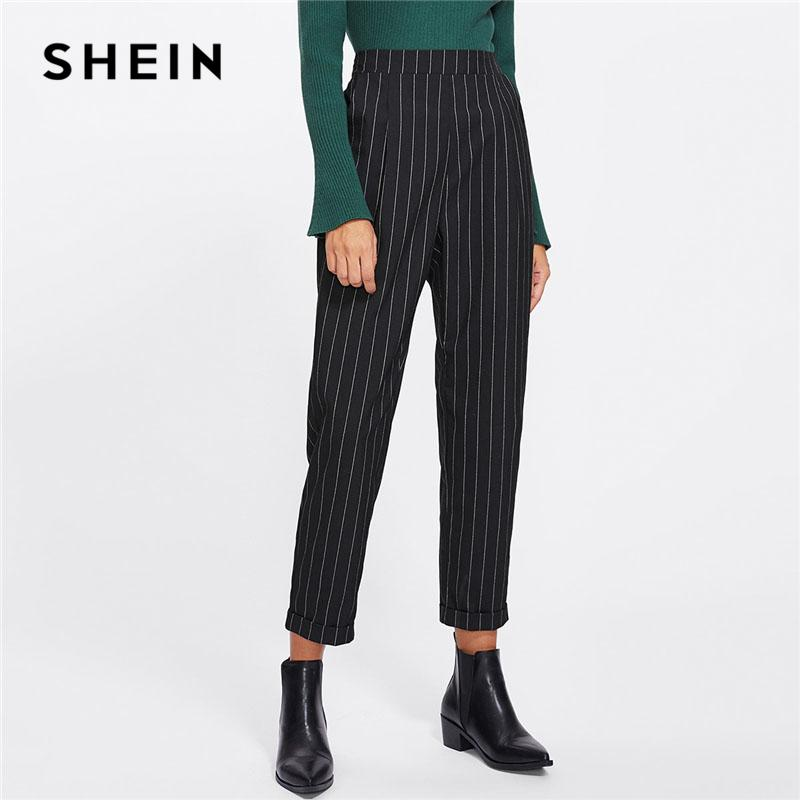 bdde4dc2c7c 2019 SHEIN Cuffed Leg Pinstripe Peg Pants Women Fashion Clothing High Waist  Work Trousers 2018 Spring New Casual Elastic Waist Pants D1892602 From  Shen07