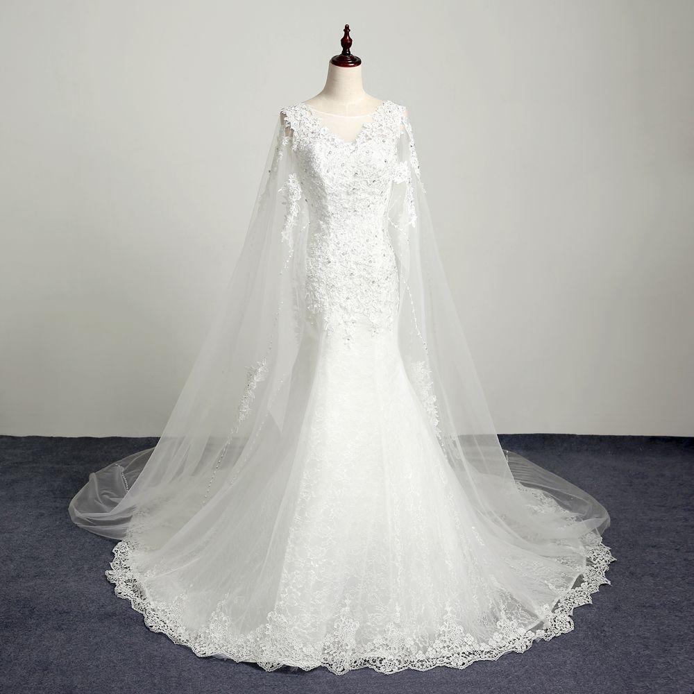 2018 Modest Long Mermaid Wedding Dress With Wrap Lace Beaded Crystal ... d91f9f2dd88e