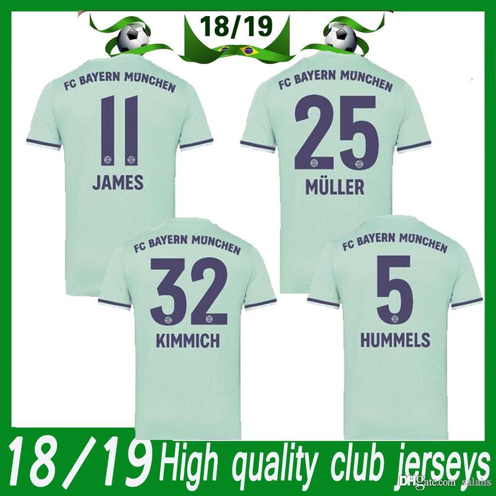 61c4397a11a27 Camiseta De Fútbol Verde Bayern De Visitante 18 19 Camiseta De Fútbol Bayern  Munic De Visitante 25 MULLER 11 ROBBEN 23 VIDAL Camiseta De Fútbol Uniforme  ...