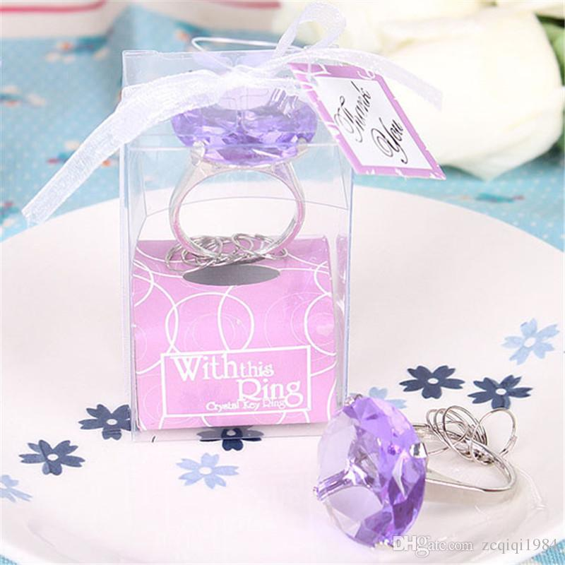 Romantic Crystal Engagement Ring Keychain for Your Love With This Ring keyring fashion Giant Diamond Keychain