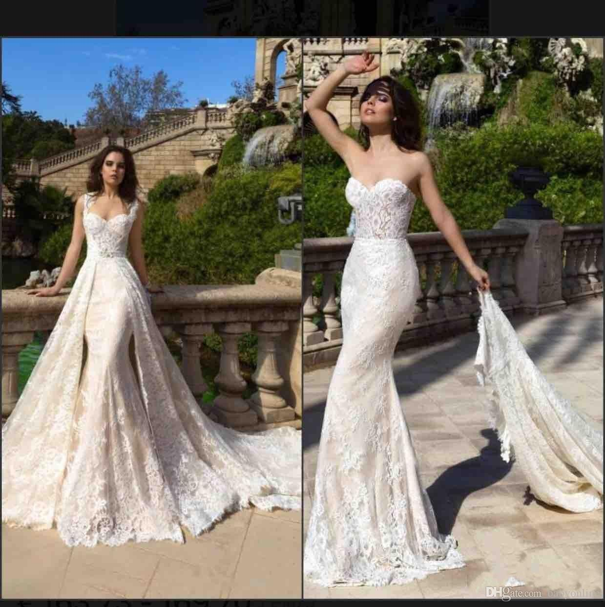 Delicate Lace Mermaid Wedding Dresses 2018 New Arrival Sweetheart Appliqued Bridal Gowns with Removable Overskirts Western Formal Vestidos