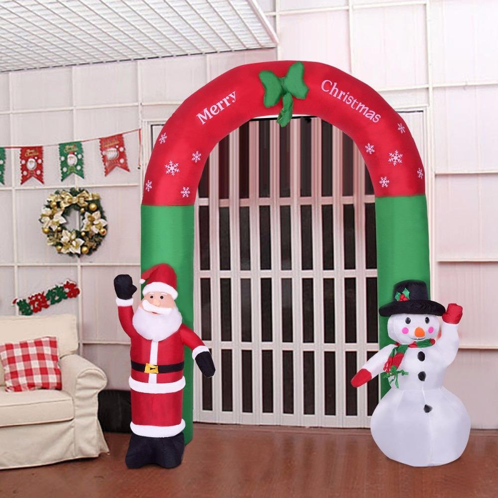 goplus 25m82 new year christmas decoration for home indoor outdoor inflatable airblown snowman santa claus archway cm20507us decorations for home