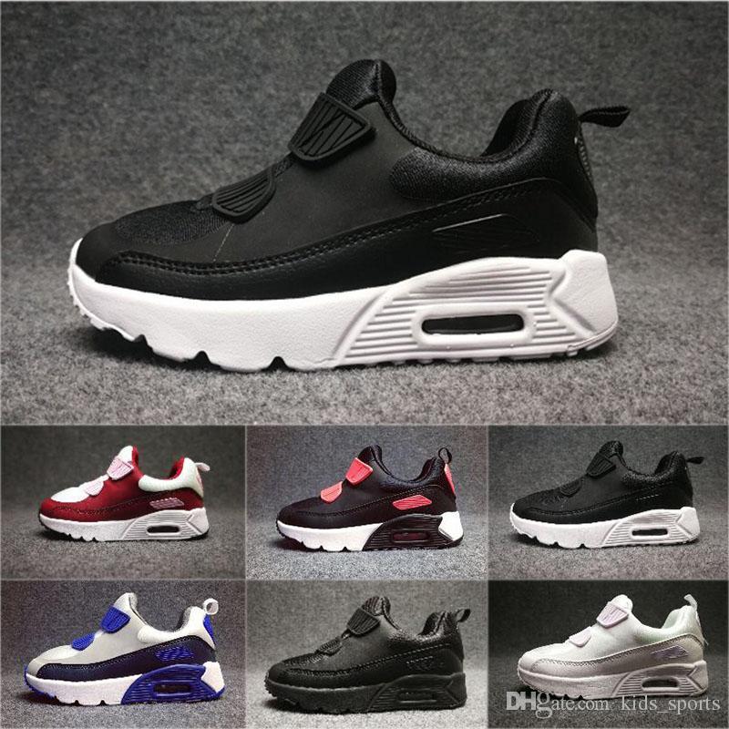 7e662499ab3d34 Großhandel Nike Air Max 90 Sneakers Schuhe Klassische 90 Junge Mädchen Kinder  Kinder Laufschuhe Schwarz Rot Weiß Sport Trainer Luftpolster Oberfläche ...