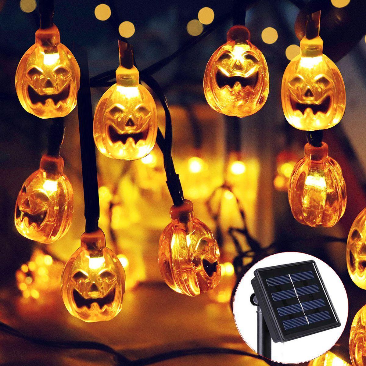 solar halloween 30 led warm white pumpkin string lights garden decor rh dhgate com