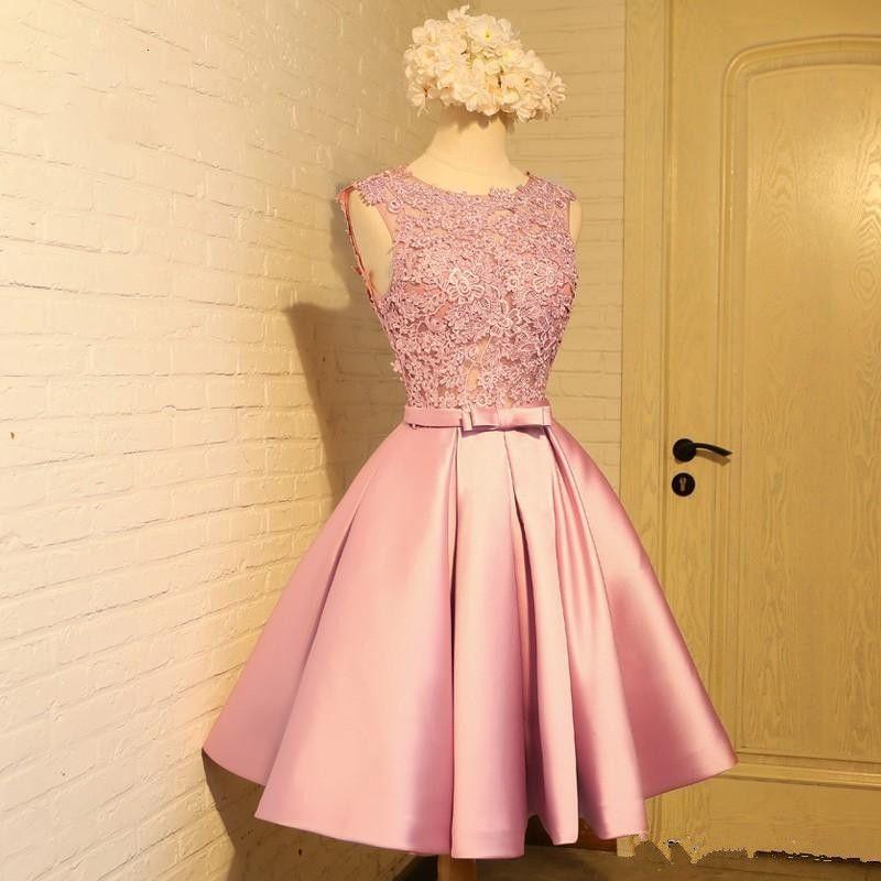 11a743e066b123 Cheap Light Pink Short Prom Dress With Appliques Sleeveless Womens Formal  Dresses Party Evening Vestidos De Festa Open Back Custom Made Cheep Prom  Dresses ...