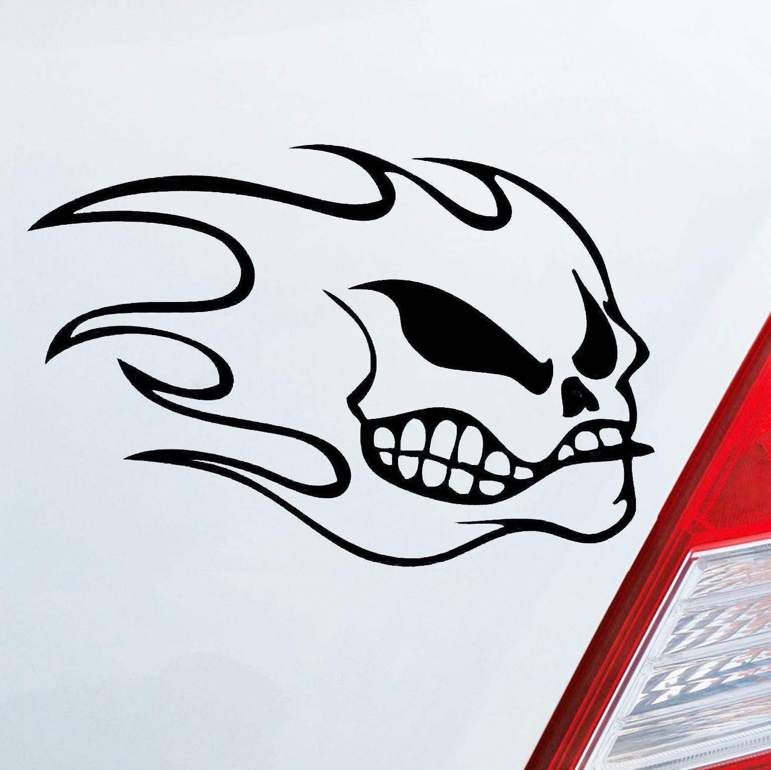 1510cm Fun Unique Totenkopf Flammen Flame Skull Aufkleber Sticker Biker Humour Delicate Vinyl Hobby Car Bumper Sticker