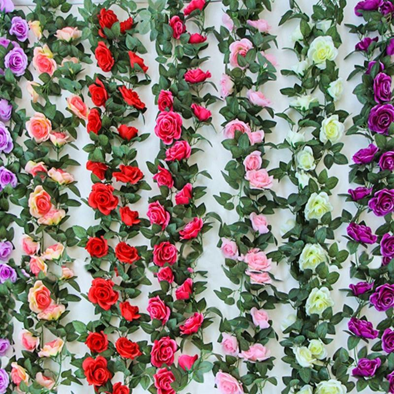 Home & Garden Latest Collection Of Artificial Flowers Velvety Rose Garland Wall Hanging Silk Flowers Rattan Hanging Ivy Plants For Wedding Party Garden Decoration Festive & Party Supplies