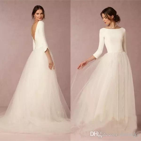 3ec76374c5 Discount 2018 Cheap Modest Winter Satin Scoop A Line Wedding Dresses  Backless 3 4 Sleeves Simple Design Soft Tulle Skirt Sweep Train Bridal  Gowns Wedding ...