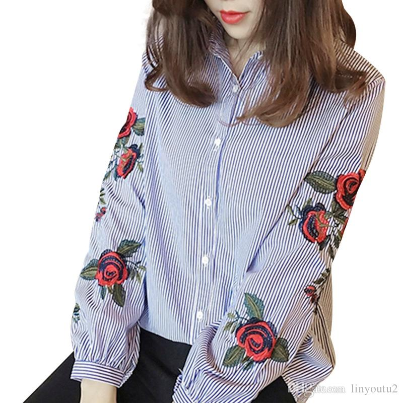 a3751e09444 2019 Rose Floral Embroidery Striped Blouse Women Long Sleeve Shirt Casual Cotton  Blusa Plus Size Kimono Tops Office Lady Blusas 2018 From Linyoutu2