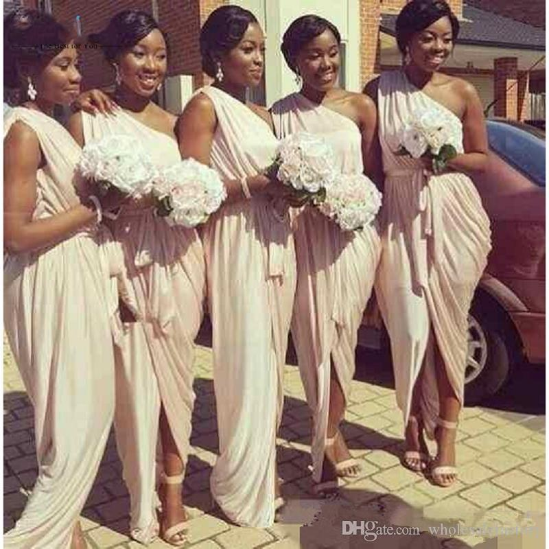 Pale Dusty Pink One-shoulder Long Country Bridesmaid Dresses Cheap Daped Split Maid of Honor Wedding Guest Party Prom Dresses