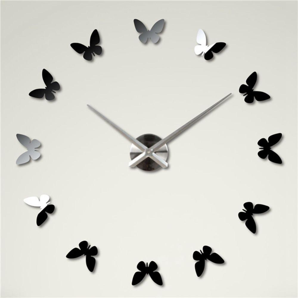 3d mirror butterfly shape clock wall hanging frameless cartoon rh dhgate com