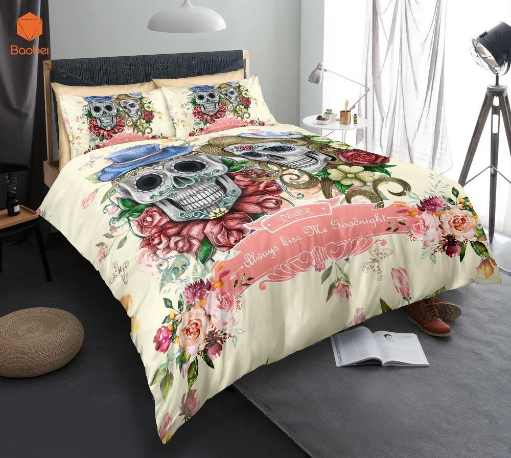3d sugar flowers skull bedding set with pillowcases duvet cover rh dhgate com