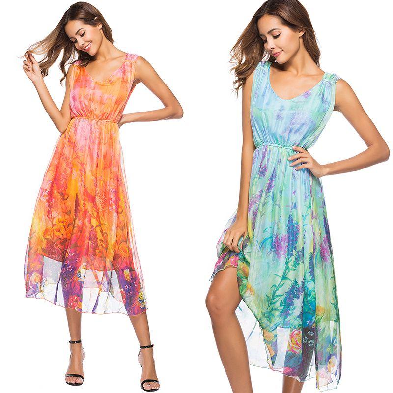 Summer Plus Size Dresses For Women Chiffon Long Dress Floral