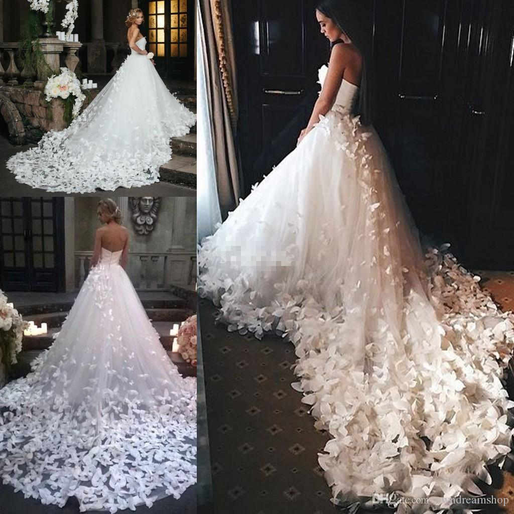 Discount Couture 2018 Princess Wedding Dresses With Flowers And ...