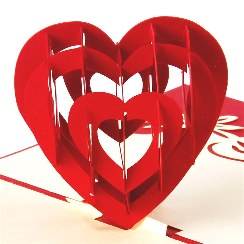 I Love You Red Heart Design Handmade Creative Kirigami Origami 3d