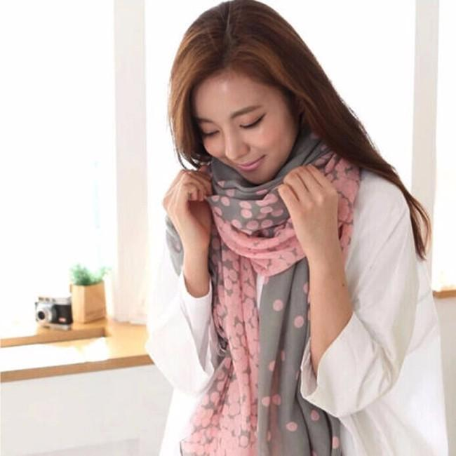 Lovely Fashion Women Soft Cotton Lady Comfortable Long Neck Large Scarf Shawl Voile Stole Dot Warm Scarves Gift Hot