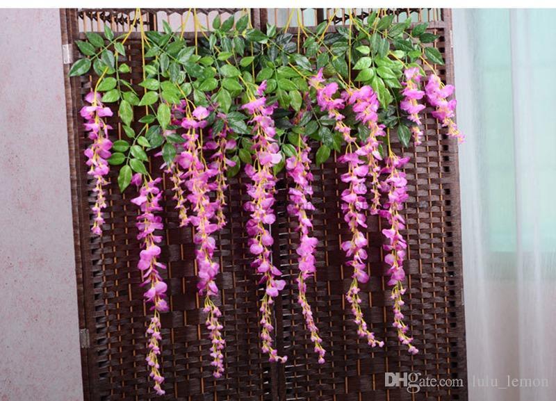 100 stücke Künstliche Rebe Glyzinien Blumen Seidenblume 29 und 43 Zoll Dekorative Blumen Für Hochzeit Mittelstücke Dekorationen Home Party EMS