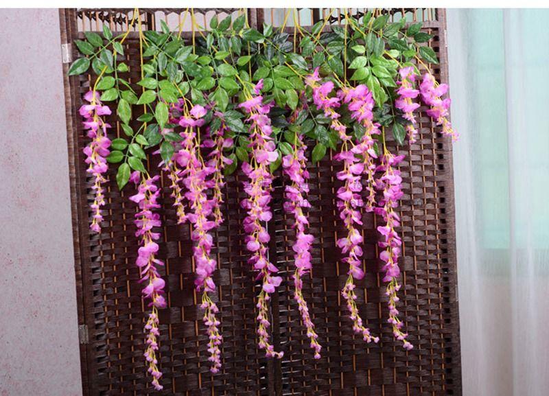 Yapay Vine Wisteria Çiçekler 29 ve 43 Inç Ipek Çiçek Düğün Centerpieces Süslemeleri Için 9 Renkler Dekoratif Çiçekler Ev Partisi