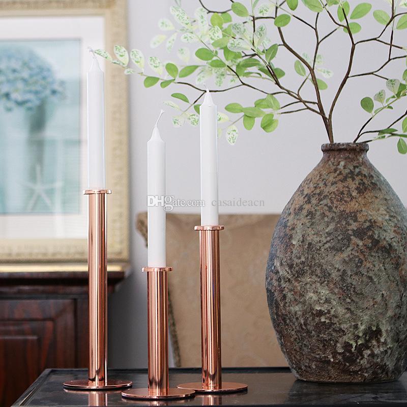 slim column shape taper candle holder in rose gold silver color rh dhgate com
