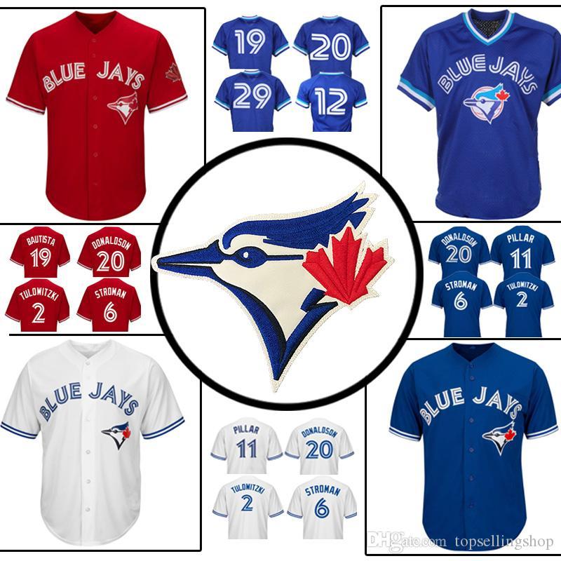 22a5a366107 2019 Toronto Blue Jays Jersey Jose Bautista 29 Joe Carter 2 20 12 Roberto  Alomar 6 Marcus Stroman 11 Kevin Pillar Baseball Jersey From  Topsellingshop
