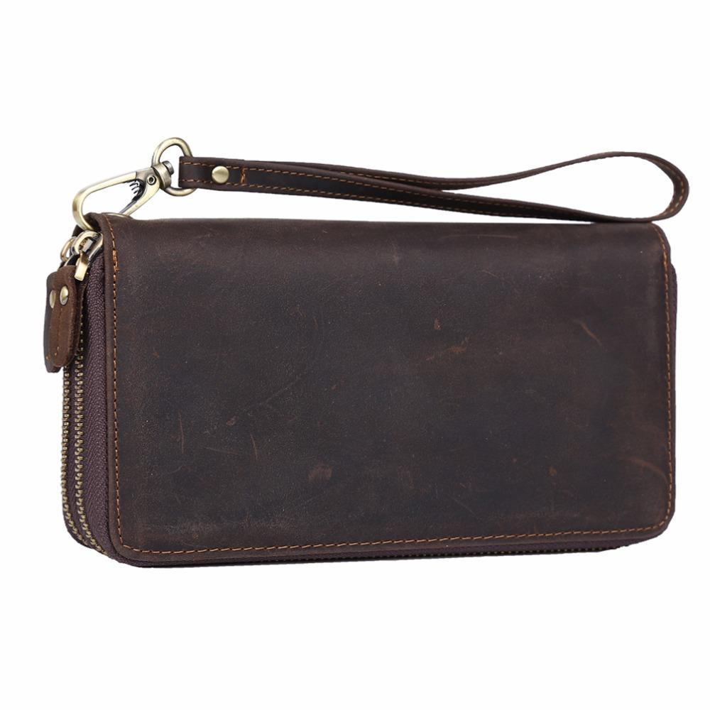 fcb8c5e1721d TIDING 2017 large capacity leather clutch bag vintage style strap purses  designer double zip around for men women 40098