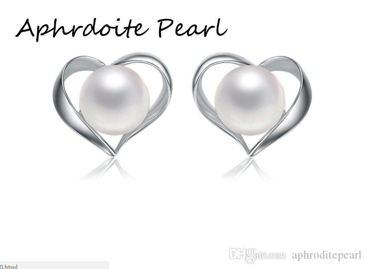 Solid sterling silver earring setting, 925 silver earring blank without pearl, heart pattern, jewelry DIY, gift DIY