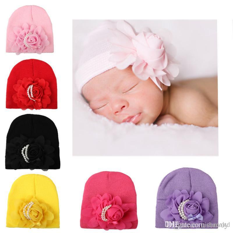 Compre Gorro De Punto De Bebé Crochet Hat Flores Perlas Casquillo ...