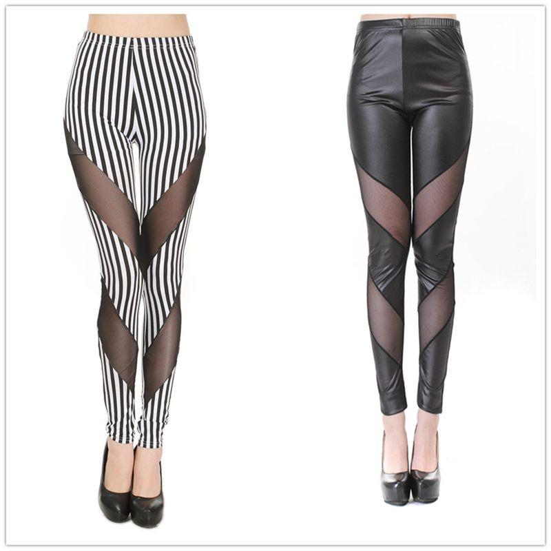 3838b146724bb 2019 Lady Fashion Striped Ankle Leggings Black White Fake Leather Patchwork Slim  Legging Summer Mesh Leggings Pencil Leather Pants From Clothwelldone, ...
