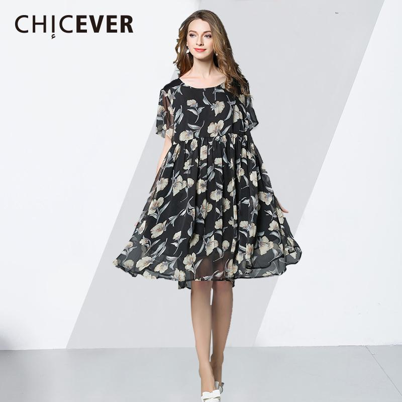 74aafdf72fbf4 CHICEVER Chiffon Dress Female O Neck Short Sleeve Large Big Size Floral  Print 2018 Summer Dresses For Women Casual Clothes New