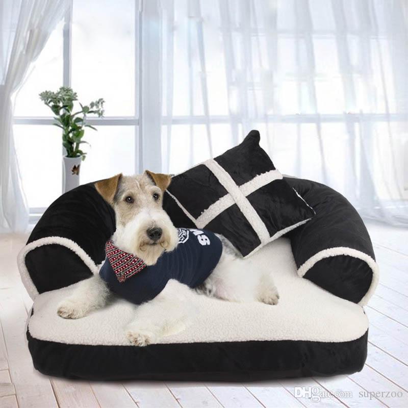 Luxus Komfortable Haustier Hund Bett Sofa Warme Weiche Samt Große Hund Welpen Haus Kennel Cosy Cat Nest Schlafmatte Kissen Pet Bettwäsche