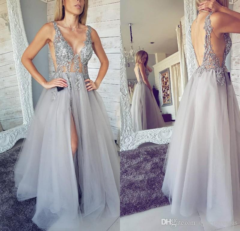3d37a255b0aa1 Latest Sheer Silver Long Prom Dresses Cystal V Neck Beaded Tulle Evening  Gowns Floor Length Backless Special Occasion Prom Party Gowns