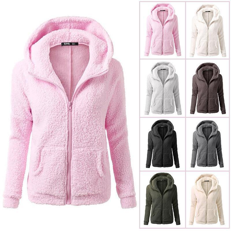 2019 Plus Size Women Sherpa Hoodies Long Sleeve Soft Fleece Sweatshirt  Winter Cardigan Oversized Zipper Hooded Outwear Sweaters Fashion Jacket  From ... 82a27a217