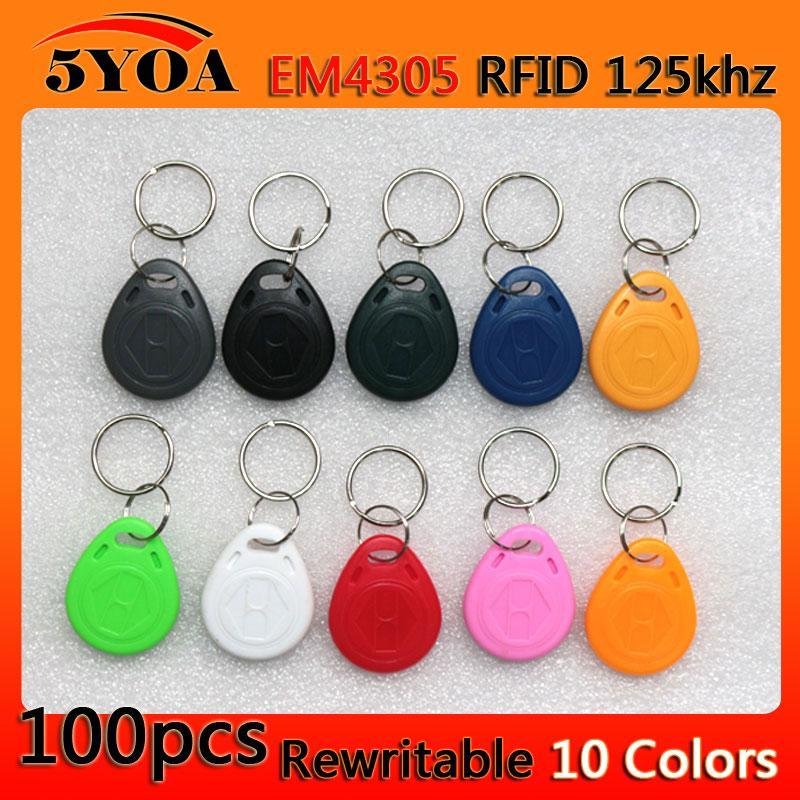 100pcs em4305 Copy Rewritable Writable Rewrite Duplicate RFID Tag Proximity  ID Token Key Keyfobs Ring 125Khz Card Access