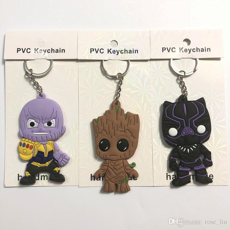 4 Style Avengers 3 : Infinity War Keychain 2018 New movie Thanos Black Panther Groot PVC Key Chain toys 6cm B