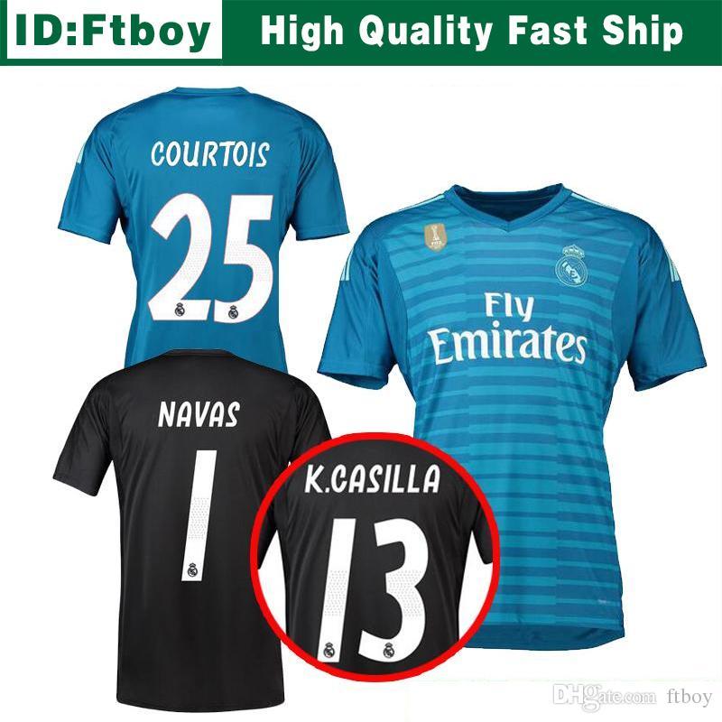 18 19 Courtois 25 Real Madrid Jerseys De Portero En Casa Lejos 2018 2019 Real  Madrid Navas K.CASILLA Luca Camisetas De Fútbol De Portero Por Ftboy 3b482328619f2