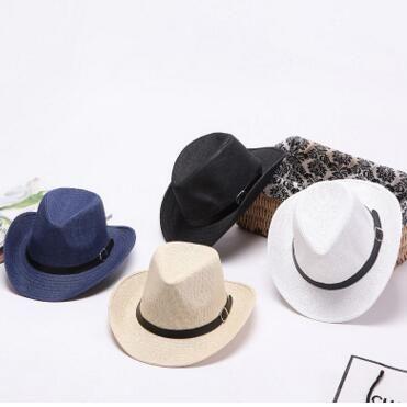 b54bcc52dac Sun Caps Ribbon Round Flat Top Straw Fedora Panama Hat Beach Summer ...