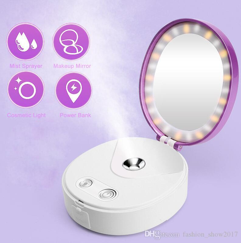 Multi Functional Portable Makeup Cosmetic Lights Mirror Nano Mist Sprayer Facial Body Steamer Moisturizing Face Power Bank