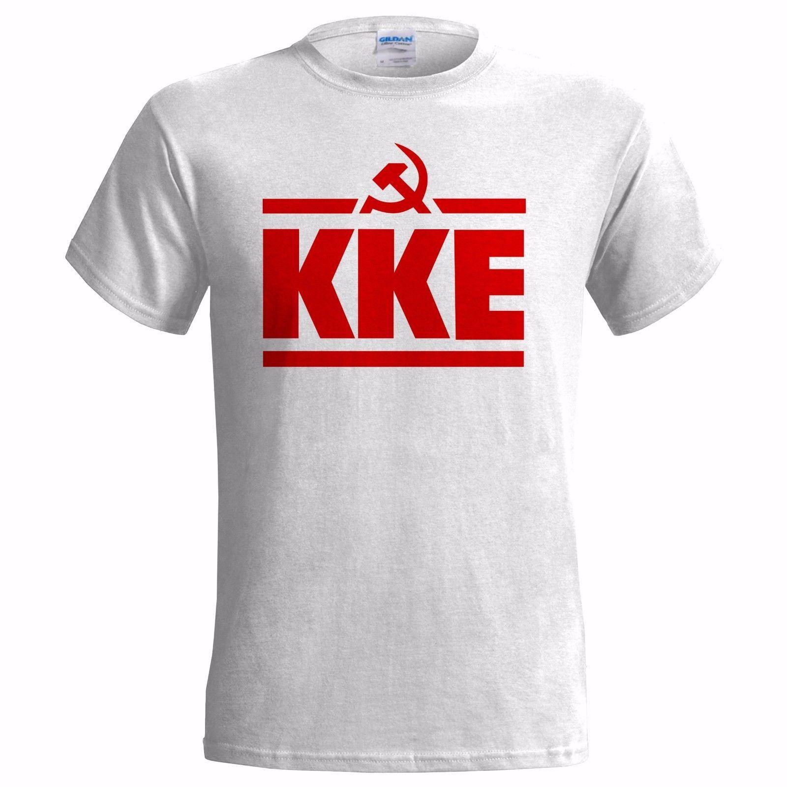 KKE LOGO MENS T SHIRT COMMUNIST GREECE GREEK PARTY COMMUNISM FREEDOM  ANARCHYFunny free shipping Unisex Casual top