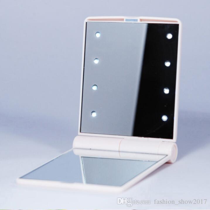 الأكثر شعبية جيب LED ماكياج HD مرآة مع 8 أضواء LED وشاشات تعمل باللمس تعيمات الذكية