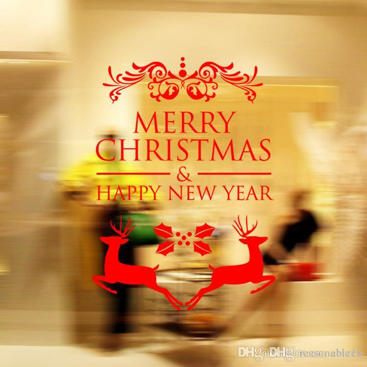 Merry Christmas Wall Stickers Decoration Santa Claus Gifts Tree ...