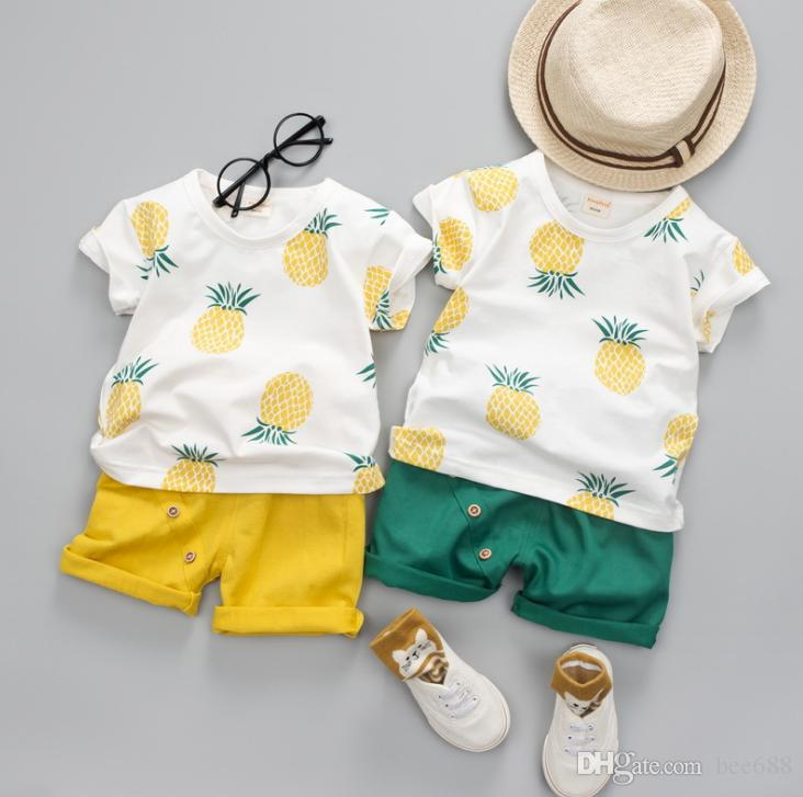 42a49168f New Summer Baby Boys Clothes Suits Infant Cotton Pineapple Printed Casual  Sets T-Shirt + Pants 2pcs Children Suits free shipping